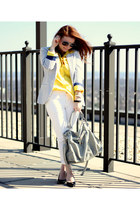 striped H&M blazer - Les Halles jeans - yellow New York and Company blouse