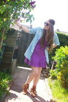 blue Primark blouse - purple Amisu dress - brown Minnetonka boots - beige H&M ac
