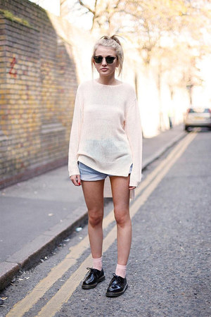 black shoes - light blue shorts - white blouse