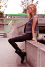 Dark-gray-boots-black-stradivarius-jeans-black-top-heather-gray-denim-vest