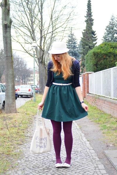 H&M Kids cardigan - PERSUNMALL dress - vintage hat - H&M tights - Blowfish flats