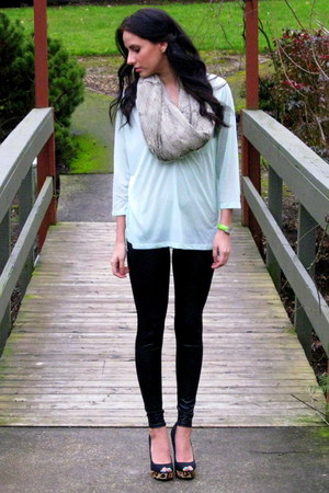 faux fur Nordstrom scarf - faux leather Forever 21 leggings - mint H&M shirt