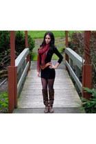 vintage vintage belt - slouchy TJ Maxx boots - black Forever 21 dress