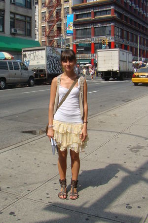white t-shirt - gold Zara skirt