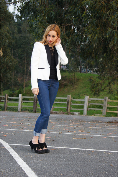 black Zara heels - blue BLANCO jeans - white Zara blazer - black Lefties top