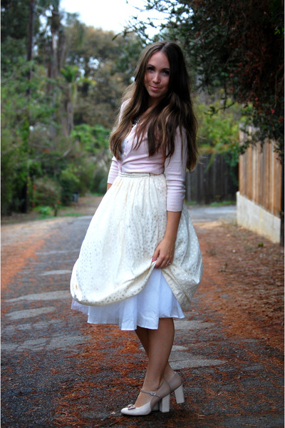 cream pleated thrifted skirt - light pink vintage cardigan