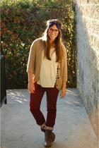maroon polka dot Loft pants