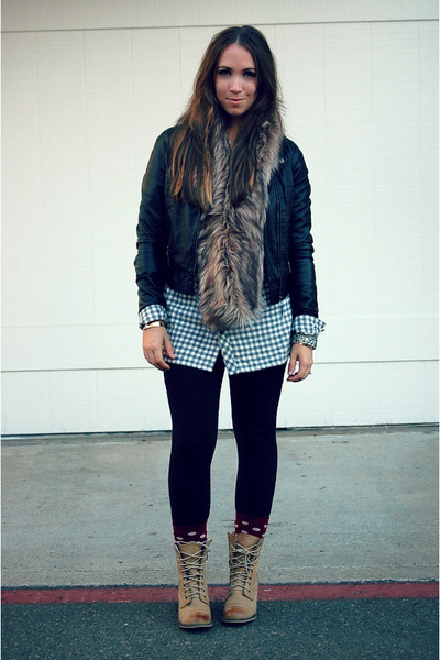brown faux fur Mossimo scarf - black leather jou jou jacket