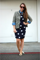 navy polka dots vintage dress - olive green Loft jacket