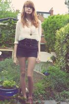 H&M blouse - Miss Selfridge shorts - new look shoes - Dorothy Perkins necklace
