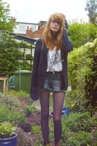Topshop shorts - H&M cardigan - new look tights - new look boots - Dorothy Perki