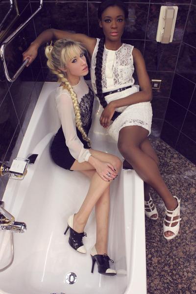 white leather Mode à toi shoes - Mango dress - Zara heels