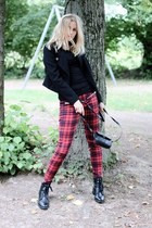ruby red grunge plaid Zara pants - black Bik Bok blazer