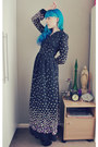 Dark-gray-70s-dress-thrifted-dress