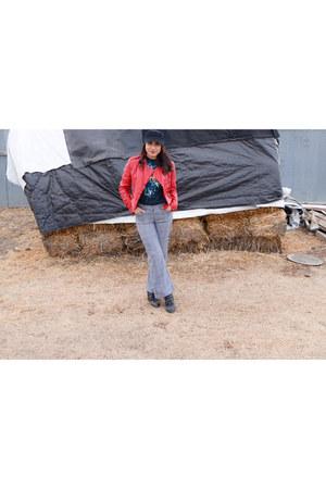 edgy gordmans hat - studded Buckle boots - leather jacket Forever 21 jacket