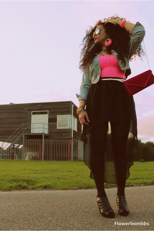 light blue Primark jacket - black Primark shoes - hot pink Primark purse