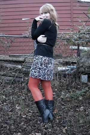 black Jellyroll boots - silver kensie dress - burnt orange We Love Colors tights