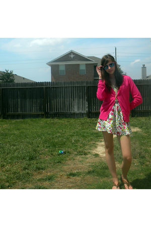 pink H&M cardigan - white XXI dress - brown shoes