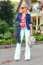 Club Monaco blazer - Stradivarius jeans - Old Navy shirt - Guess scarf