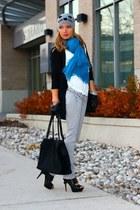 H&M hat - American Eagle jeans - DKNY bag - sam edelman heels - H&M cardigan