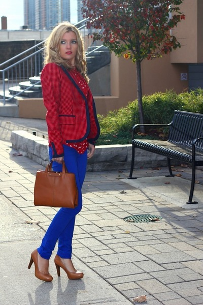 Juicy Couture blazer - Zara bag - Forever 21 pants - franco sarto heels