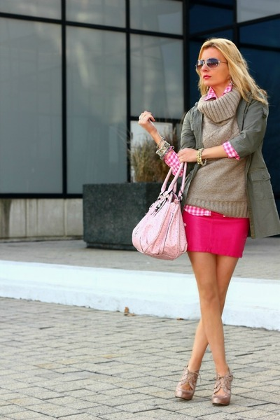 H&M top - Costa Blanca jacket - H&M shirt - Guess bag - H&M skirt