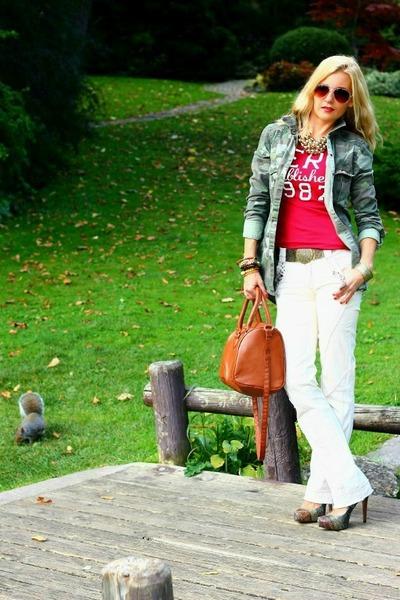 Zara jacket - H&M bag - Aeropostale t-shirt - Stradivarius pants - BCBG heels