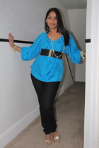 blue Express blouse - black Forever 21 jeans - gold Guess shoes - black Forever