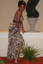 purple Bebe dress - gold Guess shoes - gold Express accessories