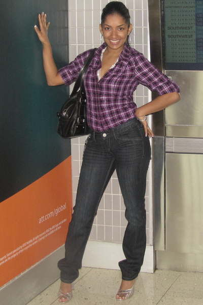 purple Express blouse - blue Express jeans - silver Express accessories - silver