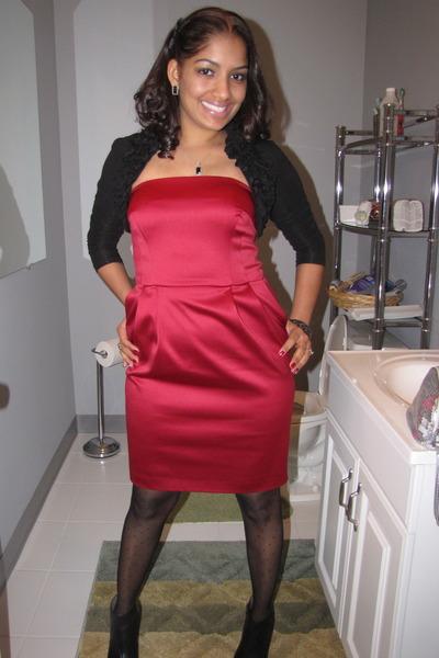 black Forever 21 blazer - red Express dress - black Express tights - black vince