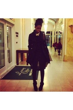 black wedges - coat - shirt - black tights tights - black cotton hoodie