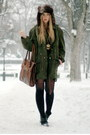 Army-green-weekday-coat-dark-brown-h-m-hat-black-club-couture-socks