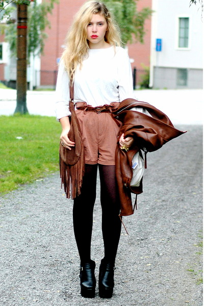crimson leather acne jacket - black platform Modekungen boots