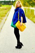 blue cape romwe coat - black platform Modekungen boots