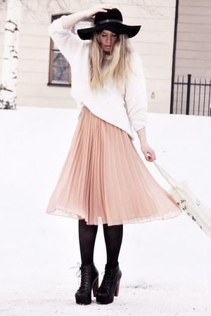light pink sheer Monki skirt - black Jeffrey Campbell shoes