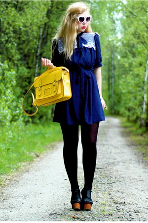 navy vintage Doortje-vintage dress - yellow satchel romwe bag