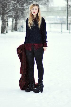 black platform Jeffrey Campbell boots - navy knitted Vila sweater