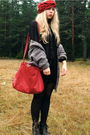 Red-diy-scarf-black-monki-shirt-red-thrifted-bag-green-h-m-jacket
