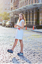 turquoise blue flatforms & other stories shoes - white preppy second hand dress
