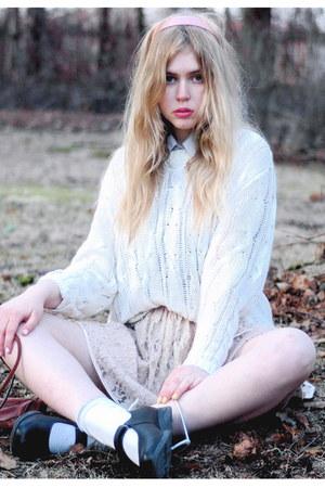 white Monki sweater - light pink lace Monki skirt - bubble gum headband frk acce