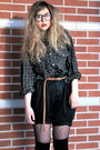 Black-plaid-shirt-daddys-shirt-black-high-waisted-diy-shorts-dark-brown-geek