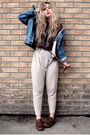 Blue-levis-jacket-purple-wera-blouse-beige-h-m-pants-brown-second-hand-sho