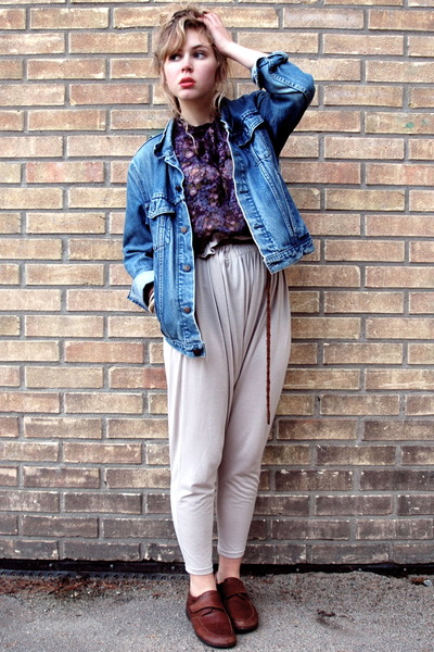 blue Levis jacket - purple Wera blouse - beige H&M pants - brown second hand sho