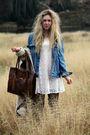 Blue-levis-jacket-white-monki-dress-beige-bik-bok-coat
