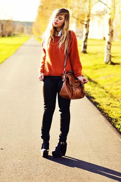 orange angora romwe jumper - black platform Modekungen boots