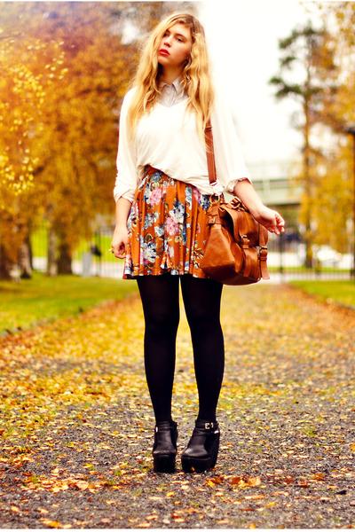 tawny autumn flowers Indiska skirt - black platform Modekungen boots