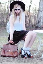 white heart shaped 80s Purple sunglasses - black chiffon Monki skirt - white cri