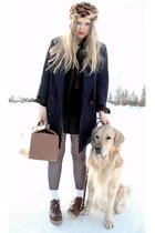 brown vintage shoes - navy vintage romwe coat - brown travel vintage bag