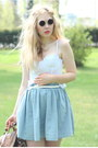 Black-lennon-80s-purple-sunglasses-sky-blue-denim-monki-skirt-white-bustier-